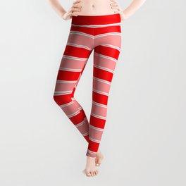 Large Horizontal Christmas Holiday Red Velvet and White Bed Stripe Leggings