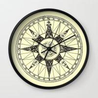 compass Wall Clocks featuring Compass by Smokacinno