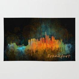 Frankfurt am Main, City Cityscape Skyline watercolor art v4 Rug