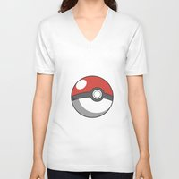 pokeball V-neck T-shirts featuring Pokeball ! by swiftstore