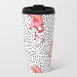 Flamingos and Polka Dots by Katrina Ward Travel Mug