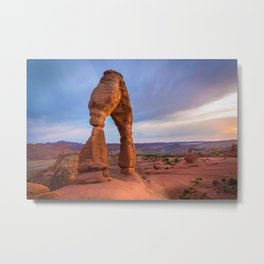 Golden Arch - Delicate Arch at Sunset in Utah Metal Print