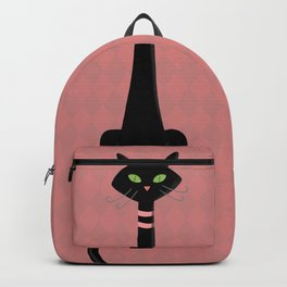 Midcentury Modern Black Kitty Cat With Green Eyes Backpack