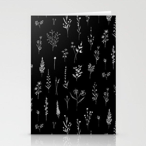 Black wildflowers Stationery Cards