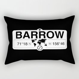 Barrow Alaska GPS Coordinates Map Artwork with Compass Rectangular Pillow