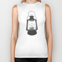 fireflies Biker Tanks featuring Cage of Fireflies by Erik Sandi Satresa