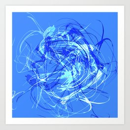 Abstract Blue with Lines Art Print