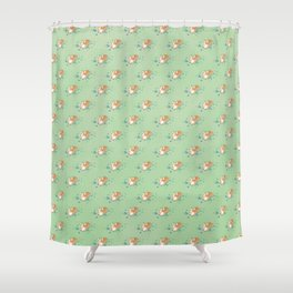 Corgi and the Bluebonnets Shower Curtain