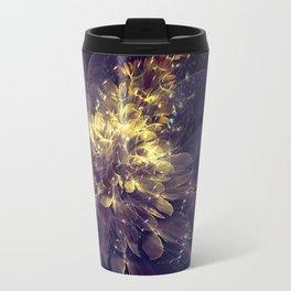 Flower Of Liberty - Golden Blue Flower Travel Mug