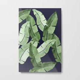 Tropical Leaves 2 Blue Metal Print