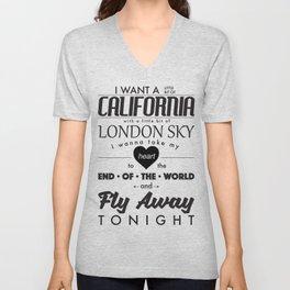 Fly Away - White Unisex V-Neck