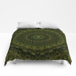 Mandala in olive green tones Comforters