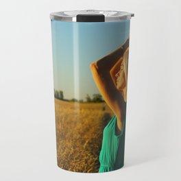 girl on the field Travel Mug