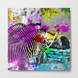 colorful zebra with painting texture abstract in pink yellow blue green Metal Print