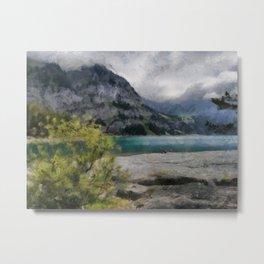 The Beautiful lake Oeschinensee in Kandersteg Switzerland Metal Print