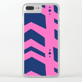 Midnight navy blue hot pink abstract geometric pattern Clear iPhone Case