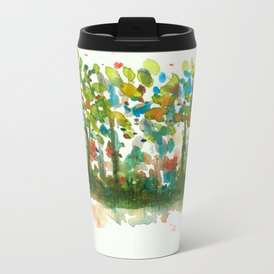 Silent Woods, Abstract Watercolors Landscape Art Metal Travel Mug