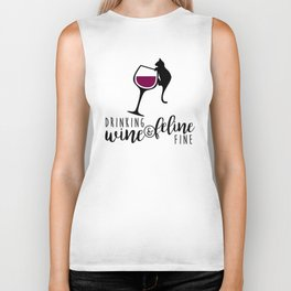 Drinking Wine and Feline Fine     Crazy Cat Lady Biker Tank