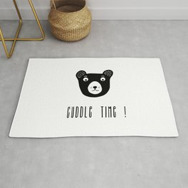 Cuddle time bear black and white illustration Rug