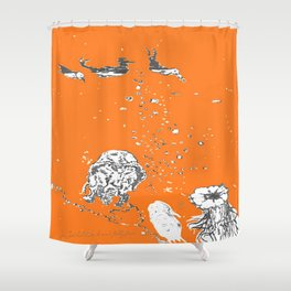 Two Tailed Duck and Jellyfish Orange Shower Curtain