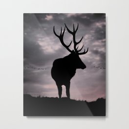 Stag And Sunset 2 Metal Print