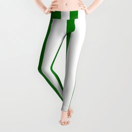 Mixed Vertical Stripes - White and Green Leggings