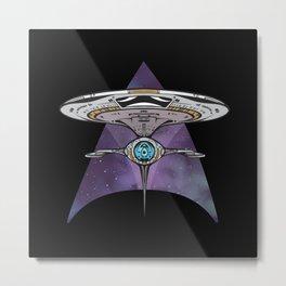 Spaceship Triangle Metal Print