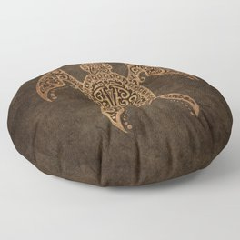 Intricate Vintage and Cracked Sea Turtle Floor Pillow