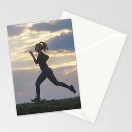 Running woman morning workout. Female Runner. Jogging during sunrise. Workout in a Park. Sporty Stationery Cards