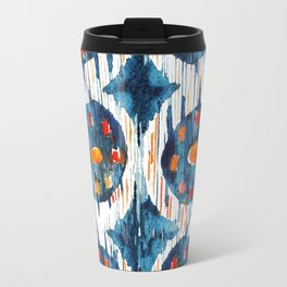 blue circle balinese ikat print Travel Mug