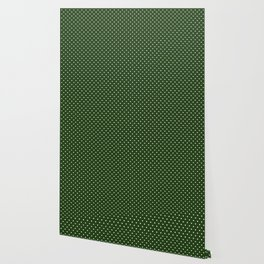 Small White Polka Dot Hearts on Dark Forest Green Wallpaper