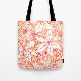 LILY SUNSET Peach Beachy Floral Tote Bag