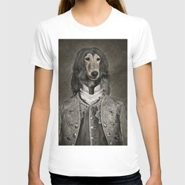 Afghan hound wearing a Louis XIV suit T-shirt