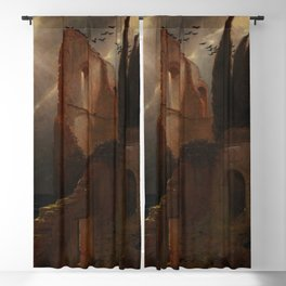 Rays of Sun over Ancient Island Ruins in the Mediterranean Sea maritime nautical landscape painting by Arnold Bocklin Blackout Curtain