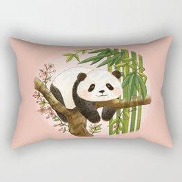 Panda under sunlight - Pink Rectangular Pillow