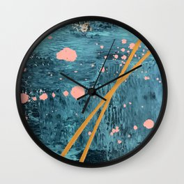 Poseidon [2]: a bright, minimal abstract in blues, pink, orange, and white Wall Clock