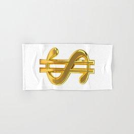 Gold Dollar Sign on White Hand & Bath Towel