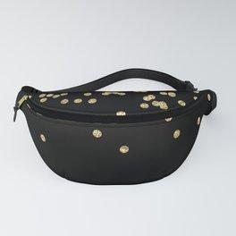 Sparkling gold glitter confetti on black - Luxury design Fanny Pack