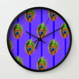 Decorative Contemporary  Peacock Feathers Art Wall Clock