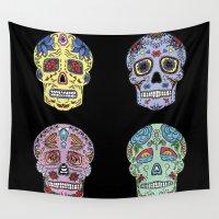 sugar skulls Wall Tapestries featuring Sugar Skulls by katherinejago