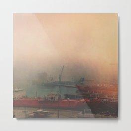 Foggy Shipyard Metal Print