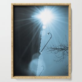Cresting Sun Abstract Urban Industrial Photograph Serving Tray