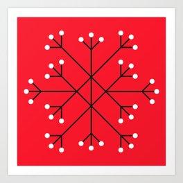 Mod Snowflake Dark Cherry Art Print