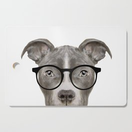 Pit bull with glasses Dog illustration original painting print Cutting Board
