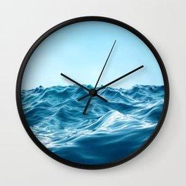 Blue Waves By The Ocean Sky Wall Clock