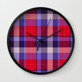 Plaid Pattern Print Wall Clock