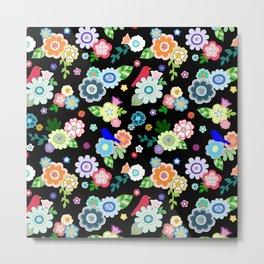 Whimsical Spring Flowers in Black Metal Print