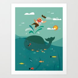 Whales and Pirates Art Print