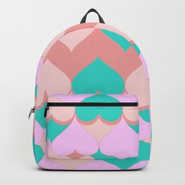 Multi Hearts Pink Teal Dogwood Backpack