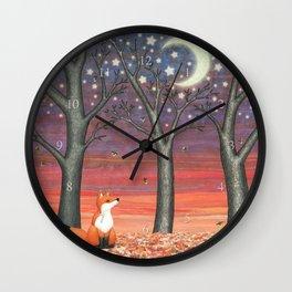 fox & fireflies Wall Clock